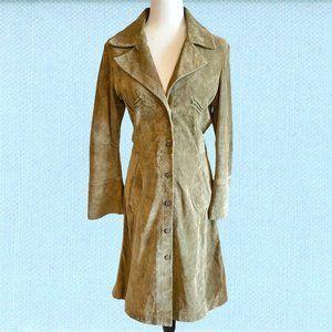 Vintage 90's Danier boho green suede coat